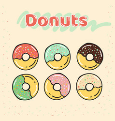 Colorful set of half-glazed donuts with caramel vector