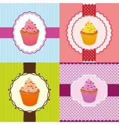 cupcake invitation cards vector image