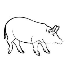 Cute pig cartoon animal farm image vector