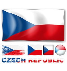 Czech Republic flag in different design vector image vector image