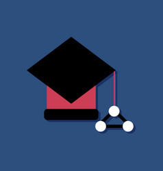 flat icon design molecules square academic cap in vector image