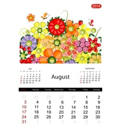 Floral calendar 2014 august vector image
