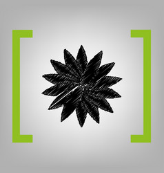 Flower sign black scribble icon in citron vector