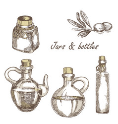 hand drawn jars and bottles vector image vector image