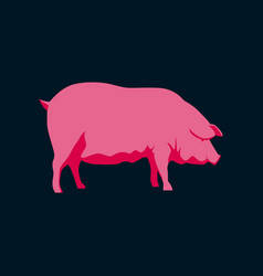 in flat style pig vector image