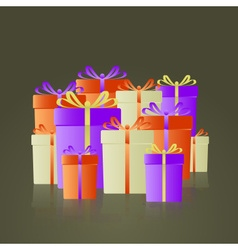 lot of colorful gifts with ribbons reflection vector image vector image