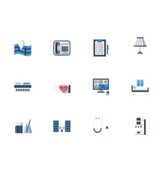 medical services flat color icons set vector image vector image