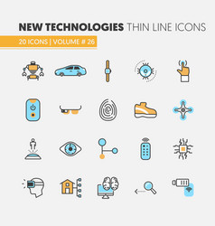 modern technologies linear thin line icons set vector image vector image
