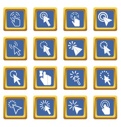Mouse pointer icons set blue vector