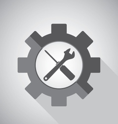 Object tool icon design wrench with screwdriver on vector