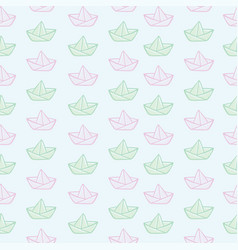 Origami paper boats or ships pattern vector