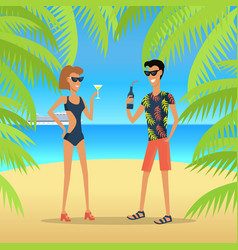 people on vacation concept in flat design vector image