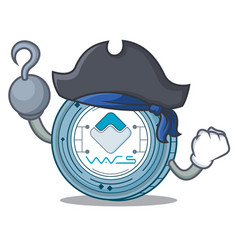Pirate waves coin character cartoon vector