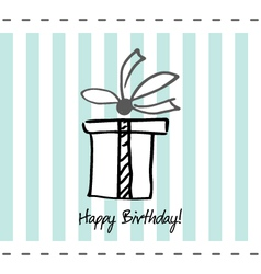 Postcard happy birthday with present box vector