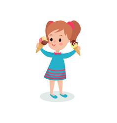 pretty girl holding two ice creams cartoon vector image vector image