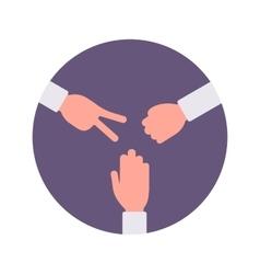 Rock paper scissors handsign in a purple circle vector