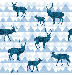seamless decorative pattern with deers vector image vector image