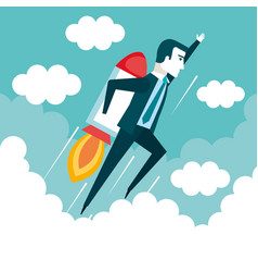 Success in business start up businessman is flying vector