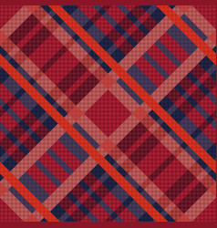 Tartan seamless diagonal texture in red and blue vector