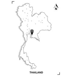 thailand map outline graphic drawing vector image