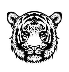 Tiger Head BW vector image