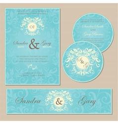 Wedding cards blue vector