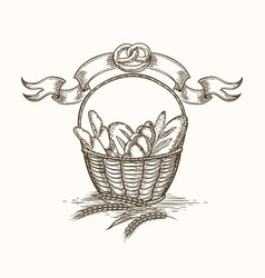 Wheat bakery basket sketch vector