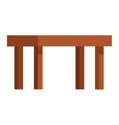 Wooden table flat isolated vector image vector image