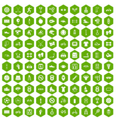100 sport icons hexagon green vector image
