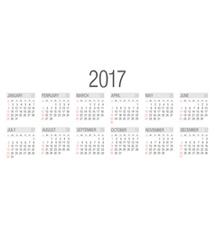Simple 2017 year calendar vector
