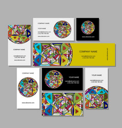 Business cards design ethnic mandala vector