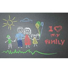 Children family drawing on the asphalt vector