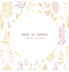 Textile textured fall leaves circle frame seamless vector