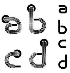 Shoelace alphabet lower case letters a b c d vector