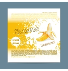 Template candy packaging banana sweets vector