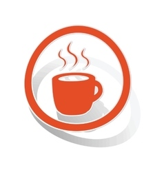 Hot drink sign sticker orange vector
