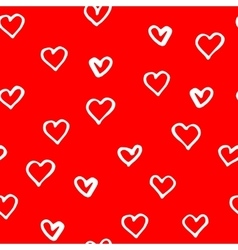 Red pattern with hand drawn hearts for valentines vector