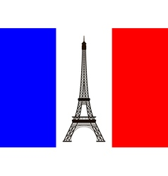 France flag with eiffel tower vector