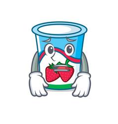 Afraid yogurt mascot cartoon style vector