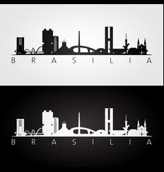 Brasilia skyline and landmarks silhouette vector
