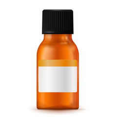 Brown medical bottle with blank label vector