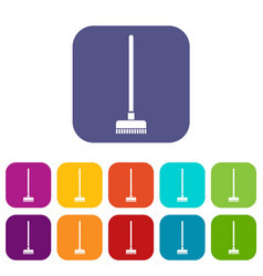 Brush for a floor icons set vector