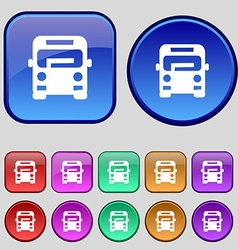 Bus icon sign a set of twelve vintage buttons for vector