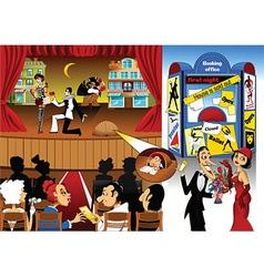 Cartoon theatre design vector image vector image