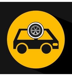 Cartoon van car wheel icon design vector
