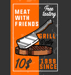 color vintage grill party banner vector image vector image