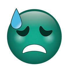 Crying face emoticon funny icon vector
