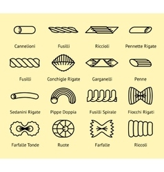 Different pasta types line icons set vector