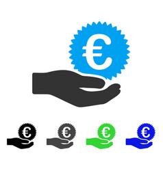 Euro coin offer hand flat icon vector