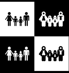 Family sign black and white icons and vector